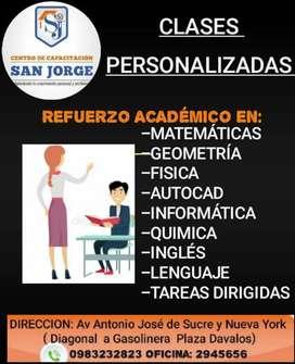 Clases Personalizadas, Matemáticas, Física,Quimica,Ingles