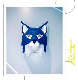 Cabeza decorativa de gato salvaje