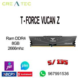 Memoria ram ddr4 t force vulcan z 8gb 2666mhz