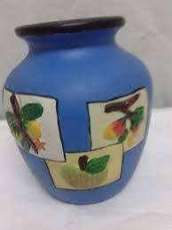 Florero Ceramico Azul Alto 13 Cm Hermoso