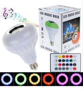 Bombillo  Parlante Bluetooth Musica Led multicolor + Control Remoto
