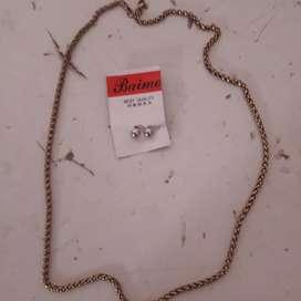 Aros de plata y cadena ( no oro)
