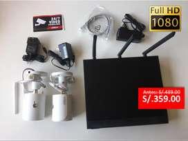 Kit 2 camaras de seguridad WiFi Inalambricas + NVR