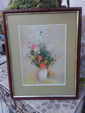 Cuadro jarrón con flores marco de madera vidrio anti reflejo