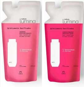 Shampoo y acondicionador lumina químicamente dañados 300mil c/u natura