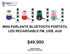 MNI PARLANTE BLUETOOTH PORTÁTIL LED RECARGABLE