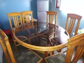 Juego de Comedor vidrio Ovalado 6 sillas