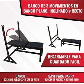 Banca multifuncional de 3 posiciones + soporte para pesas