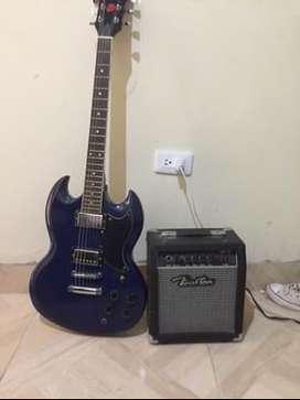 Guitarra eléctrica con amplificador boston
