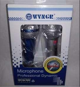 Kit 2 Microfonos Alambricos Cable Para Karaoke Profecional (1092)
