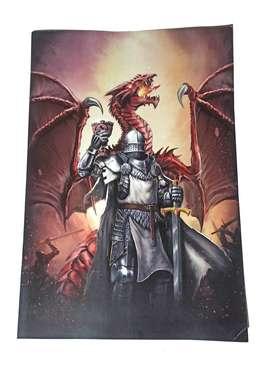Lamina Poster De Dragones Arte Cuadro Decoracion 43x30 Cms nueva