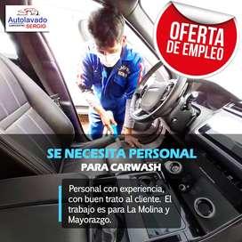 Personal para carwash en La Molina