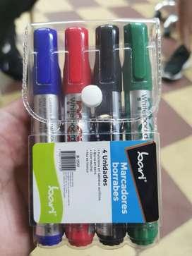 Saldo marcadores borrables set x 4 unidades valor set 2000 pesos caja x 12