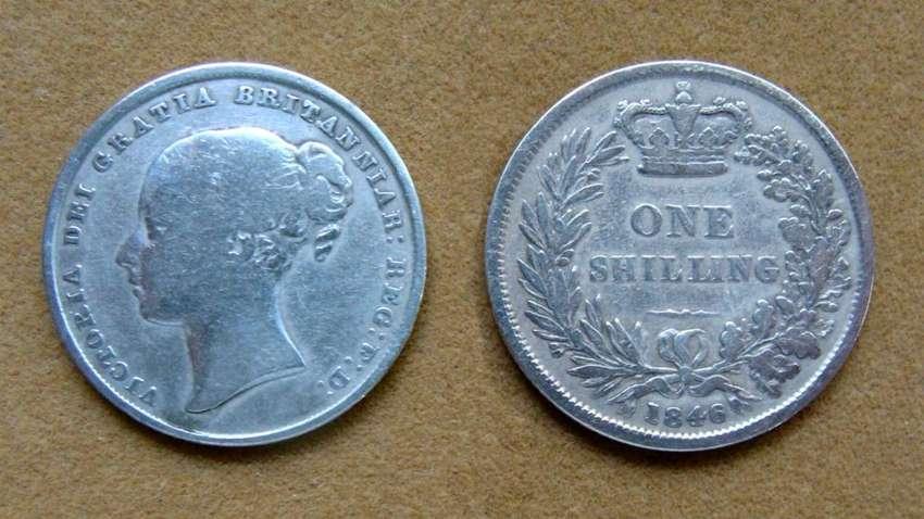 Moneda de 1 chelín de plata Gran Bretaña 1846 0