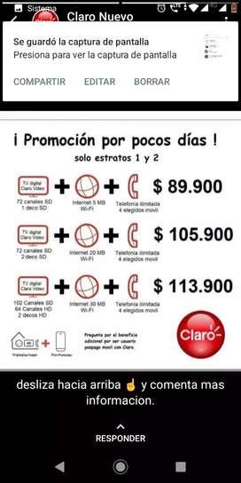 SUPER PROMOCIÓN CON CLARO HOGAR TRIPLE PLAY EN UN SUPER PRECIO INTERNET TELÉFONO Y TV TODO PARA TU HOGAR
