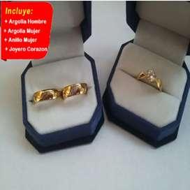 Combo argollas para matrimonio + anillo de compromiso