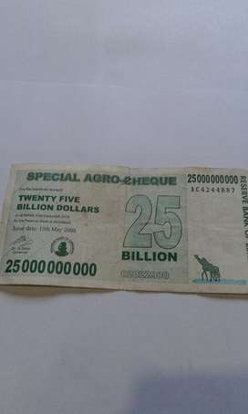 Billete de Zimbabwe 25 Billones Antiguo