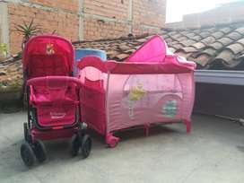 Combo Cuna+coche de niña