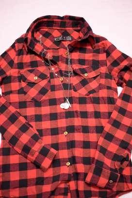 Camisa a cuadrille roja