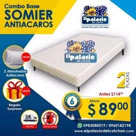 BASES SOMIER 2 PLAZAS BOX  CAMA BASE, ALMOHADAS, OBSEQUIO, COLCHONES