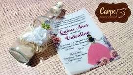 Invitación Botella Para Bodas, Matrimonio, 15 Años