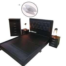 Combo Semi Golden Base cama Dividida 140x190 + Espaldar + Tocador + semanario + 2 nocheros + Envio Gratis Btá