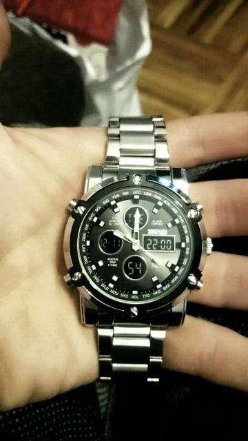 Reloj digital analogo Hombre acero inoxidable doble hora 0
