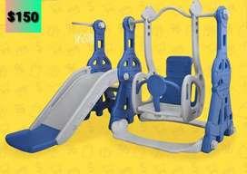 Resbaladera 2 en 1 para niños en color azul con gris