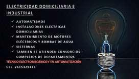Electricista domiciliario, consorcios e industrial, Bombas, cisternas, iluminación AUTOMATISMOS