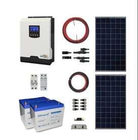 Kit Solar Off Grid Policristalino 2KW 2,1KWH x Día 2x75AH