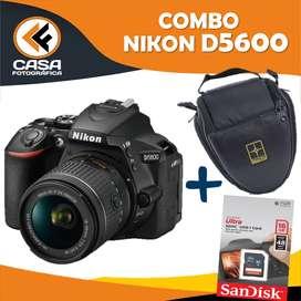 NIKON D5600 MEMORIA +  SD 16 GB ESTUCHE IMPERMEABLE DOBLEBOLSILLO