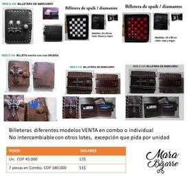 Billeteras de cuero estilo rock, metal, dark, choper