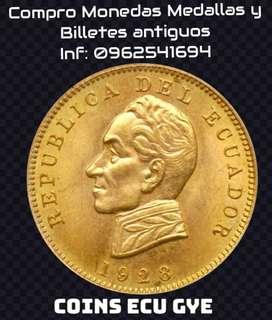 Monedas, billetes y medallas