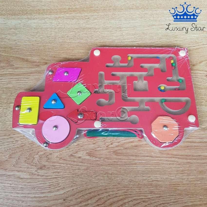 Puzzle Bus Laberinto Magnetico Figuras Geometria Madera 0