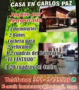 Casa vacacional Carlos paz