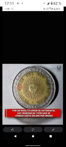 Lotes de 20 monedas de un peso con error impresión