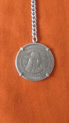 Moneda de coleccion 1821-1971 con llavero de plata