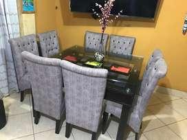 Mesa comedor cuadrada 08 sillas