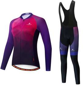 Uniforme conjunto traje ciclismo mujer manga larga pantalón largo con badana