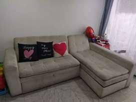 Vendo sala en L sofá cama baul