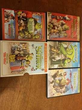Trilogía de Shrek y dos DVD más.