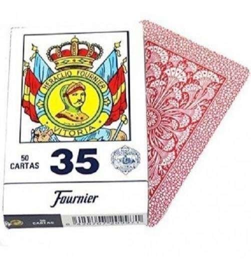 NAIPES ESPAÑOLES DE 50 CARTAS FOURNIER 35 ORIGINAL JUEGO TRUCO COLOR ROJO 0