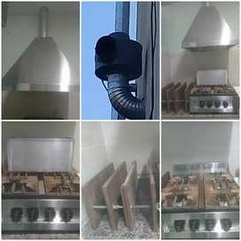 Anafe semiindustrial, campana con motor, prensa matambre y bateas