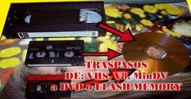 Traspasos de videos, de VHS, V8, MINDV, A DVD o Flash memory.