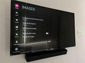 """Televisor LG Smart Tv 43"""" como nuevo con caja, incluye soporte para pared"""