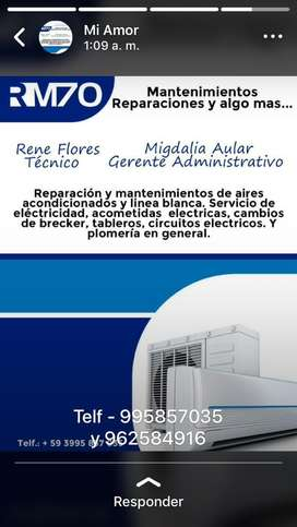 Reparaciones todo en linea blanca aires acondicionados,lavadoras ,secadoras,refrigerdoras ,comgeladores