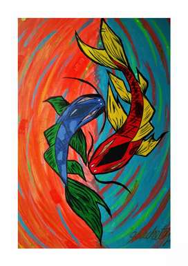 Obra De Arte Peces  Equilibrio De Energías original
