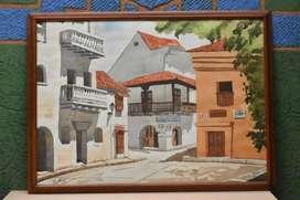 Cuadro Casas Cartageneras Pintado En Acuarela