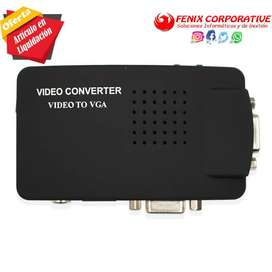 convertidor Video a VGA compuesto S-video convertidor adaptador caja