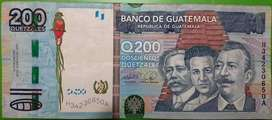 billete de 200 quetzales de Guatemala coleccionable